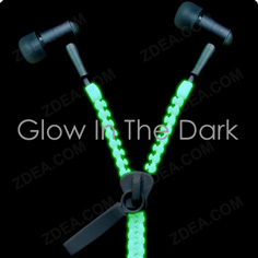 Luminous Zipper Headphone Earbuds Glow In The Dark
