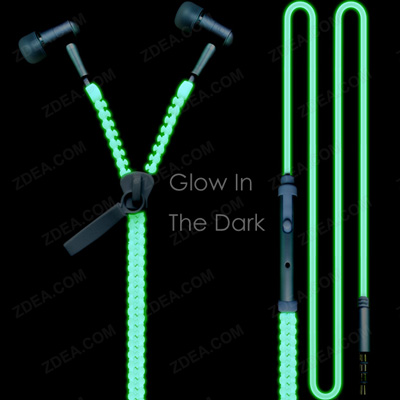 Luminous Zipper Headphone Earbuds Glow In The Dark 2
